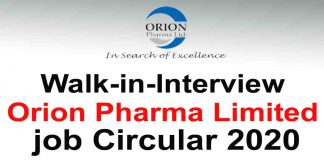 Walk-in-Interview Orion Pharma Limited job Circular 2020